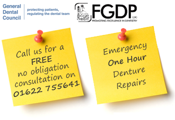 Header Post-It including General Dental Council and FGDP logos